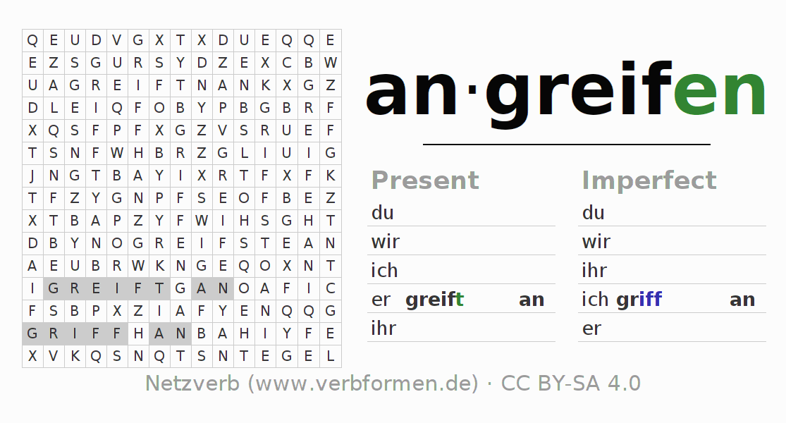 Word search puzzle for the conjugation of the verb angreifen
