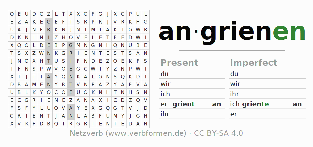 Word search puzzle for the conjugation of the verb angrienen