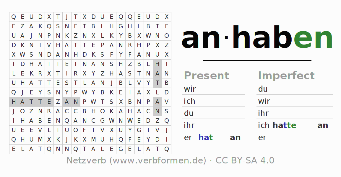 Word search puzzle for the conjugation of the verb anhaben