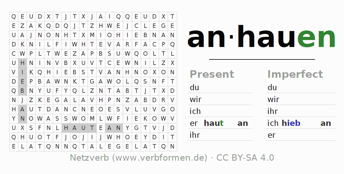 Word search puzzle for the conjugation of the verb anhauen (unr)