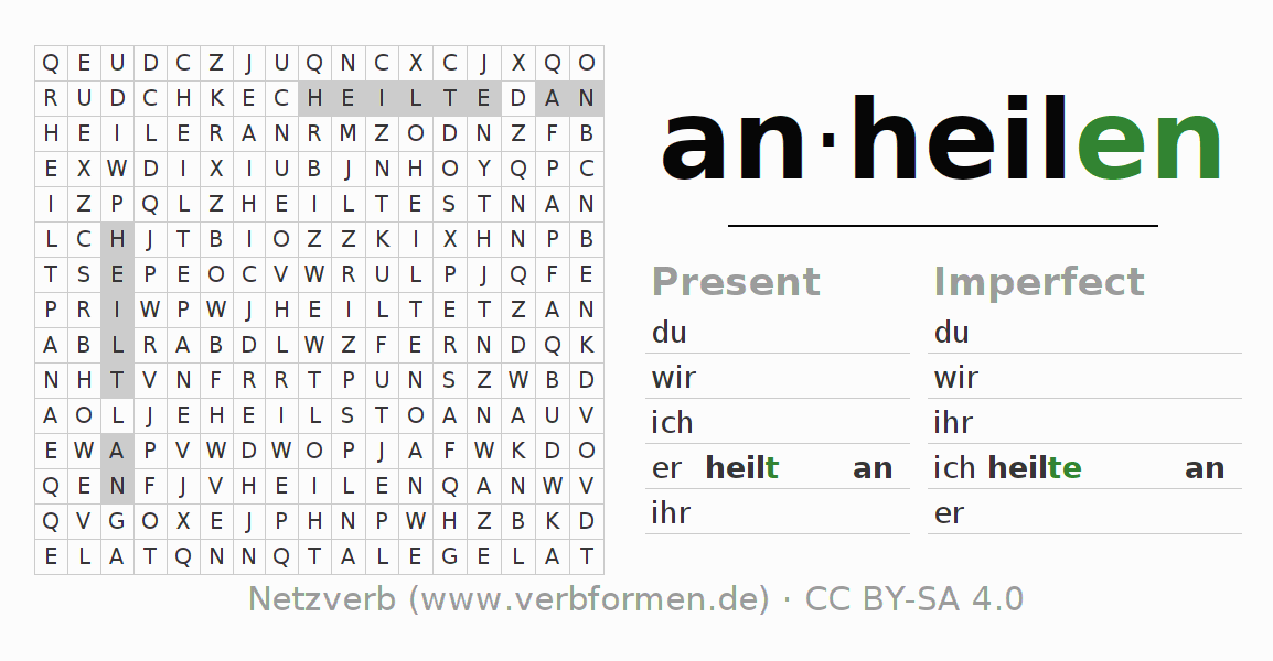 Word search puzzle for the conjugation of the verb anheilen