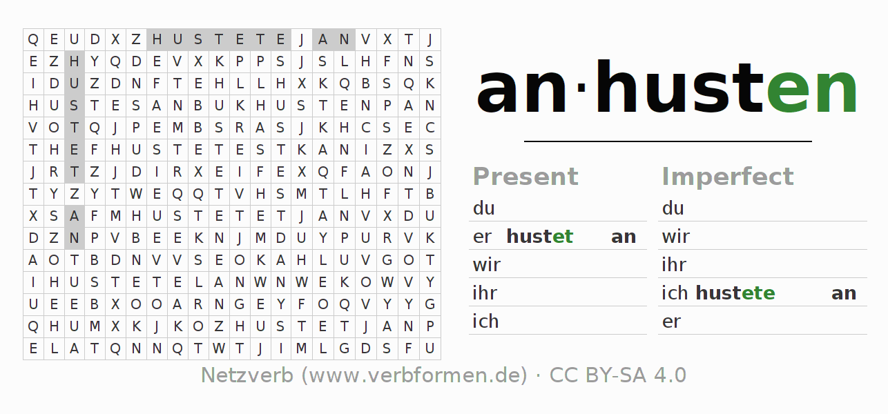 Word search puzzle for the conjugation of the verb anhusten