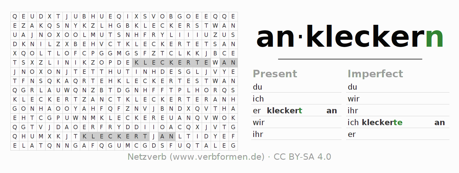Word search puzzle for the conjugation of the verb ankleckern