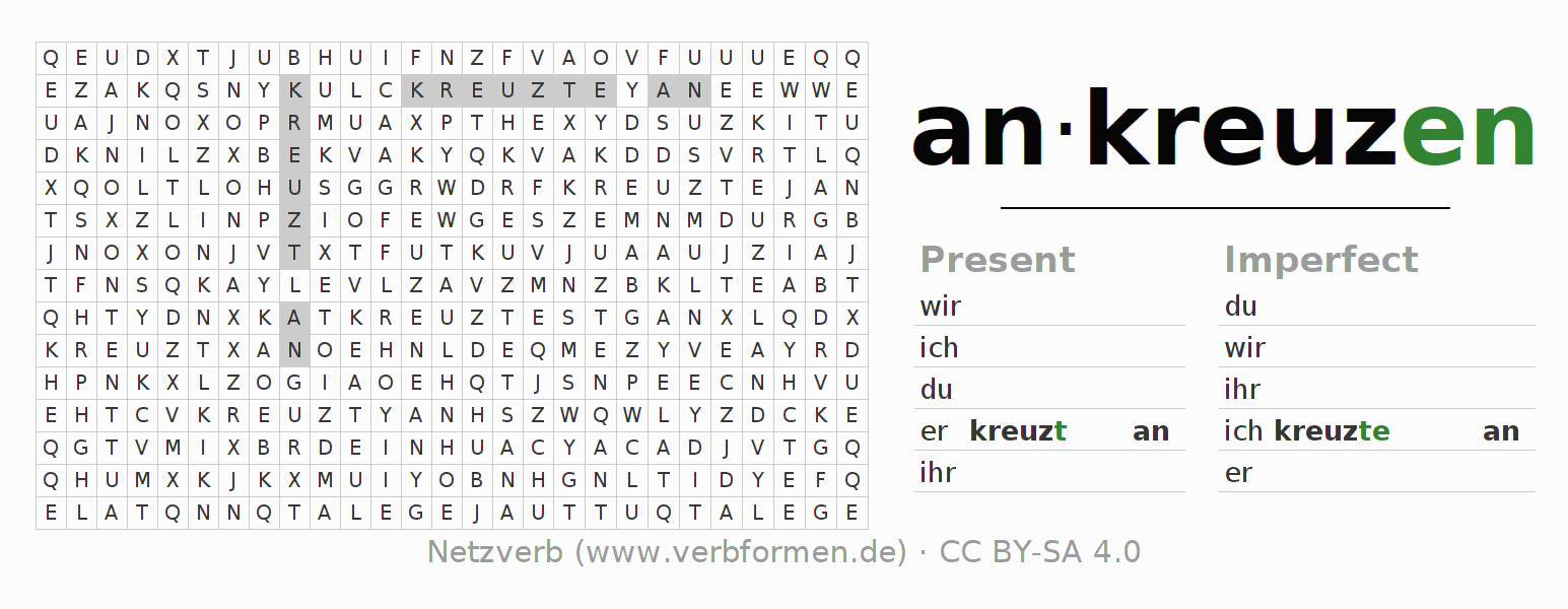 Word search puzzle for the conjugation of the verb ankreuzen (ist)