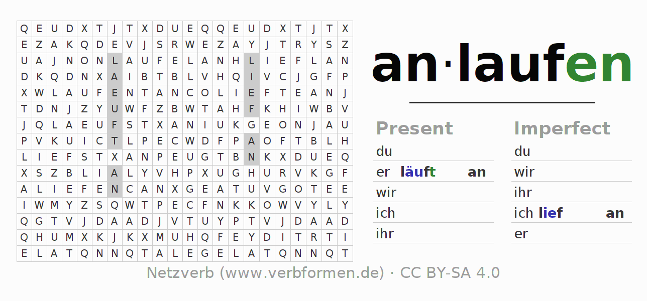 Word search puzzle for the conjugation of the verb anlaufen (hat)