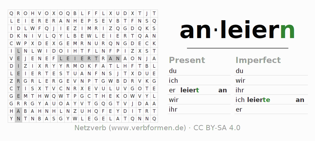 Word search puzzle for the conjugation of the verb anleiern