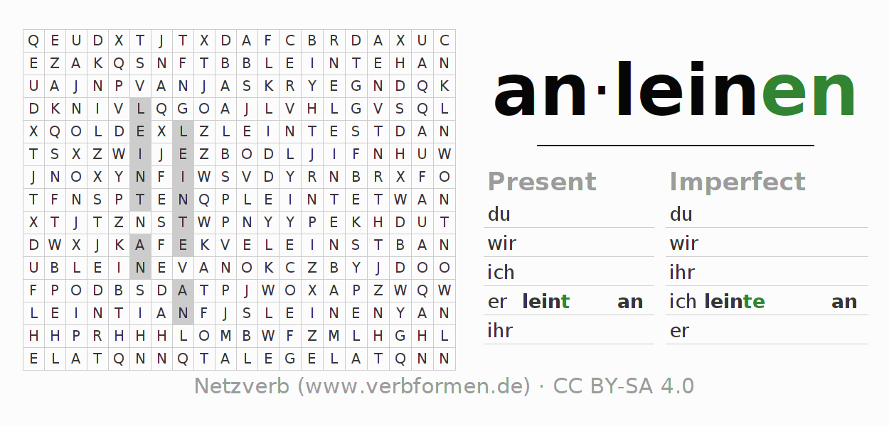 Word search puzzle for the conjugation of the verb anleinen