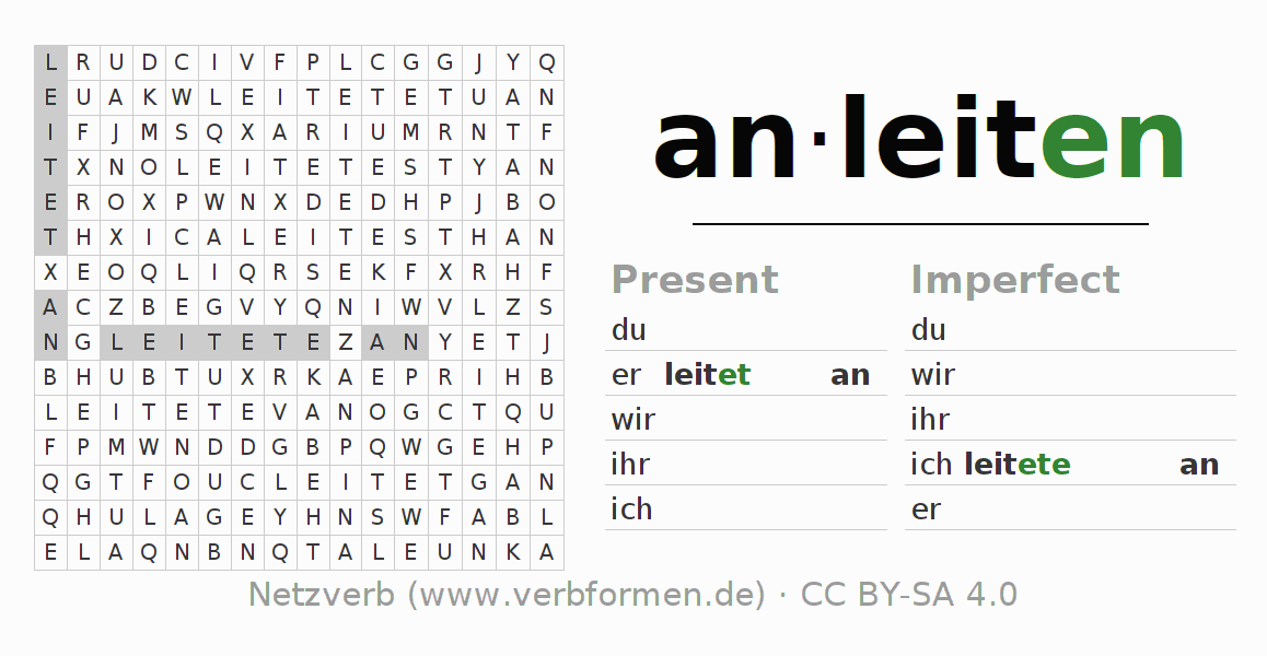 Word search puzzle for the conjugation of the verb anleiten