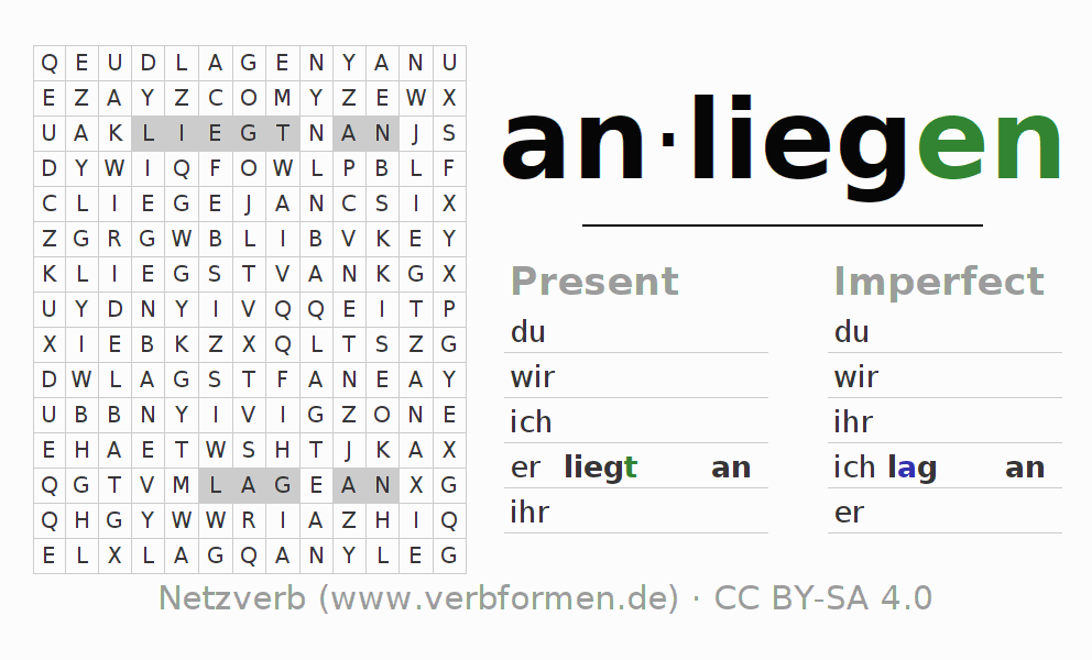 Word search puzzle for the conjugation of the verb anliegen (ist)