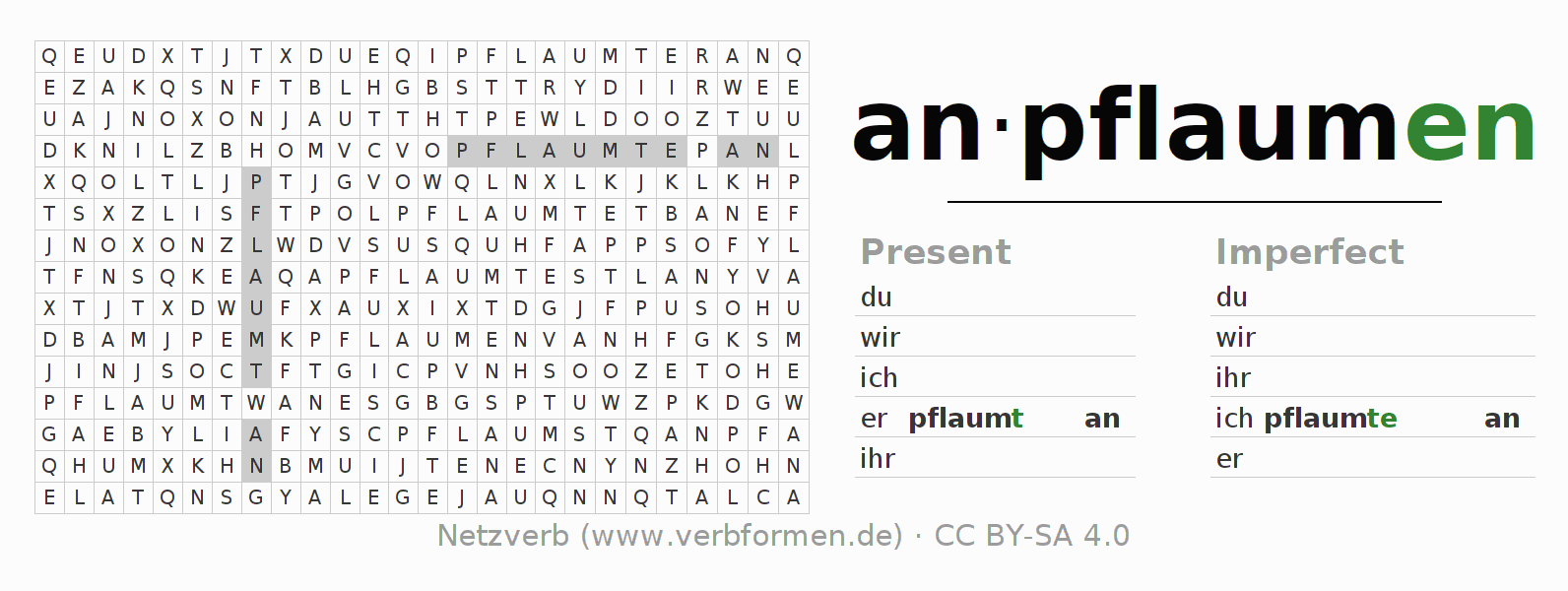 Word search puzzle for the conjugation of the verb anpflaumen