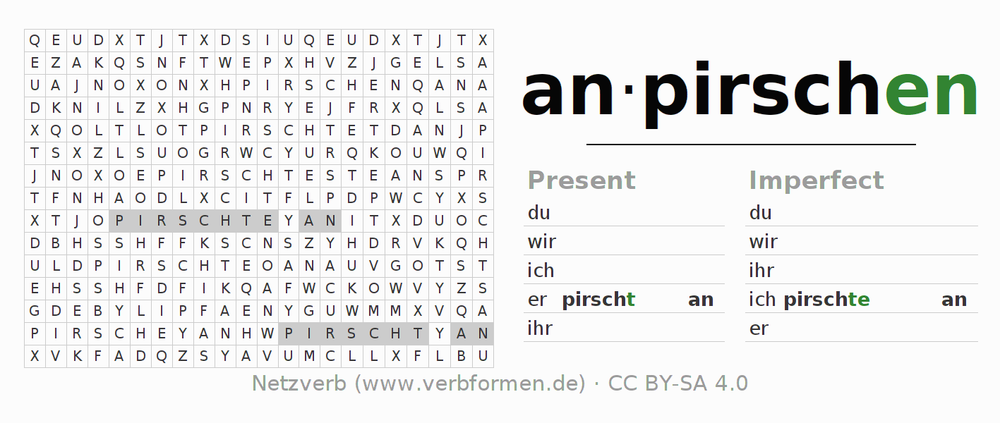Word search puzzle for the conjugation of the verb anpirschen