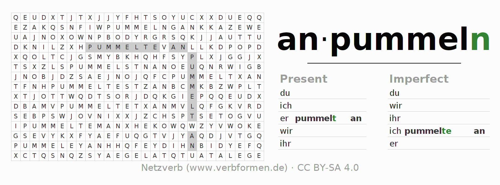 Word search puzzle for the conjugation of the verb anpummeln