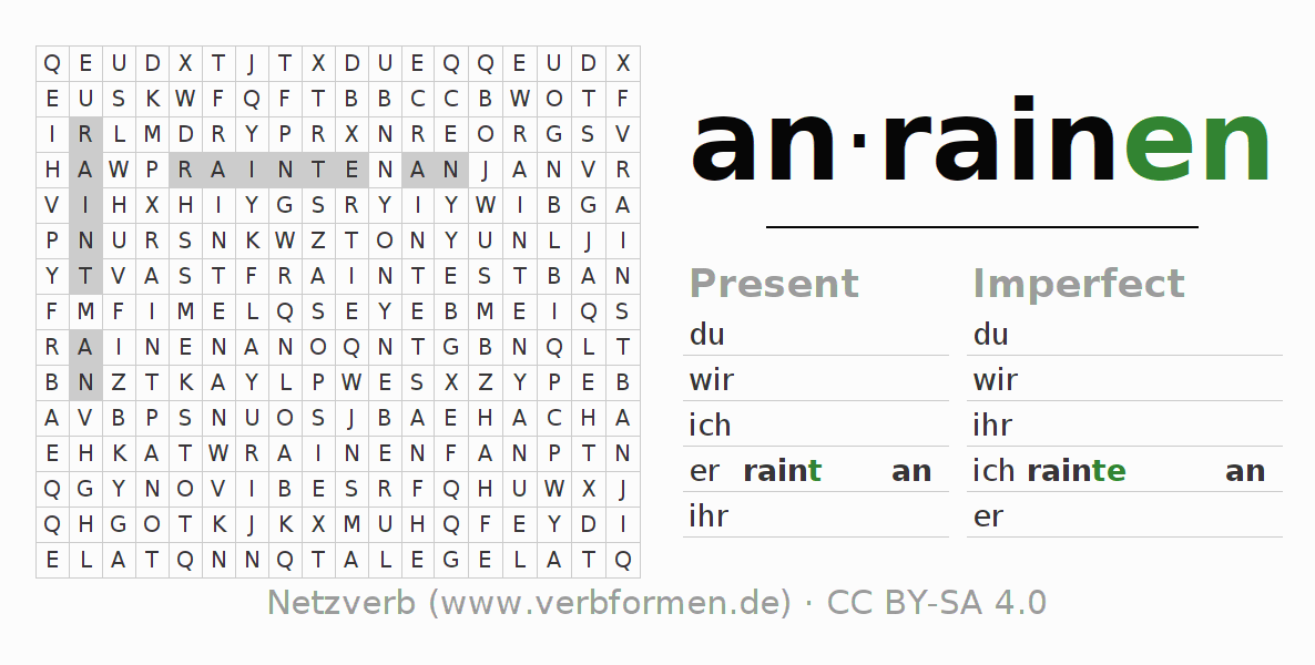 Word search puzzle for the conjugation of the verb anrainen