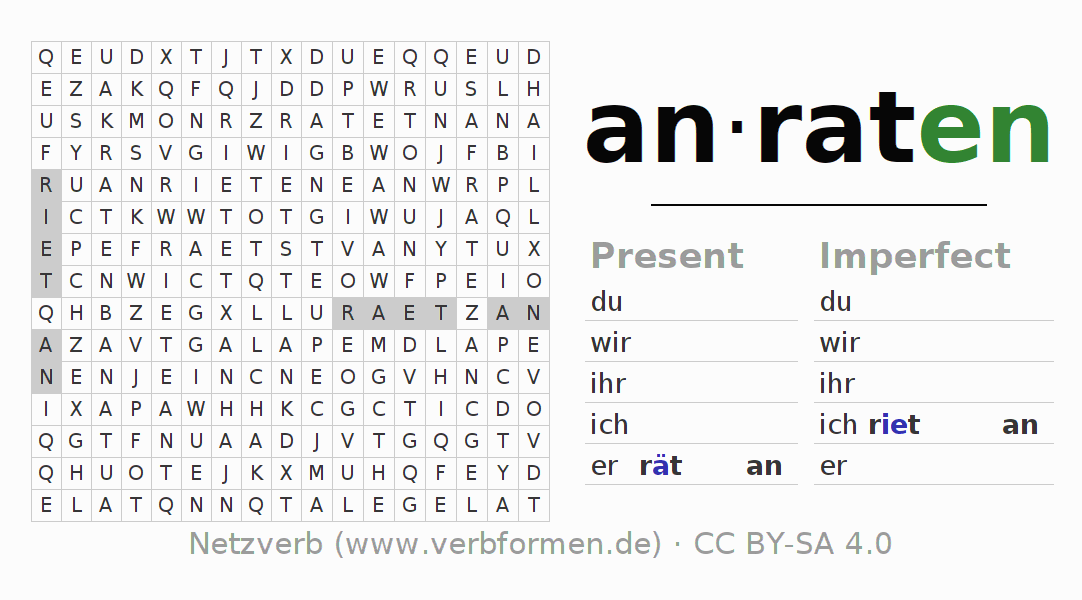 Word search puzzle for the conjugation of the verb anraten