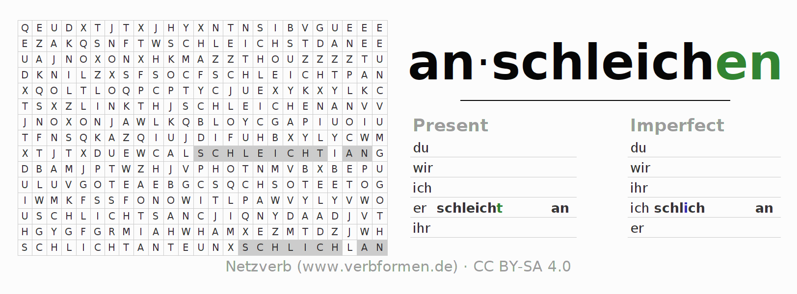 Word search puzzle for the conjugation of the verb anschleichen (hat)