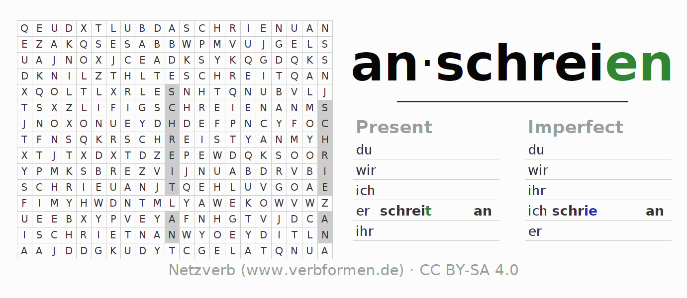 Word search puzzle for the conjugation of the verb anschreien