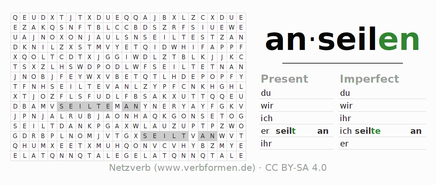 Word search puzzle for the conjugation of the verb anseilen