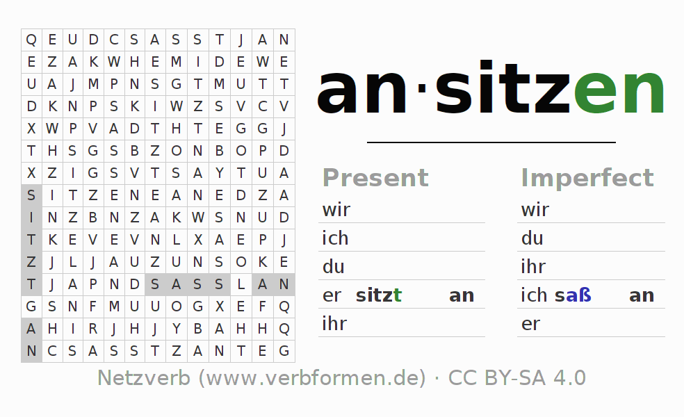 Word search puzzle for the conjugation of the verb ansitzen (hat)