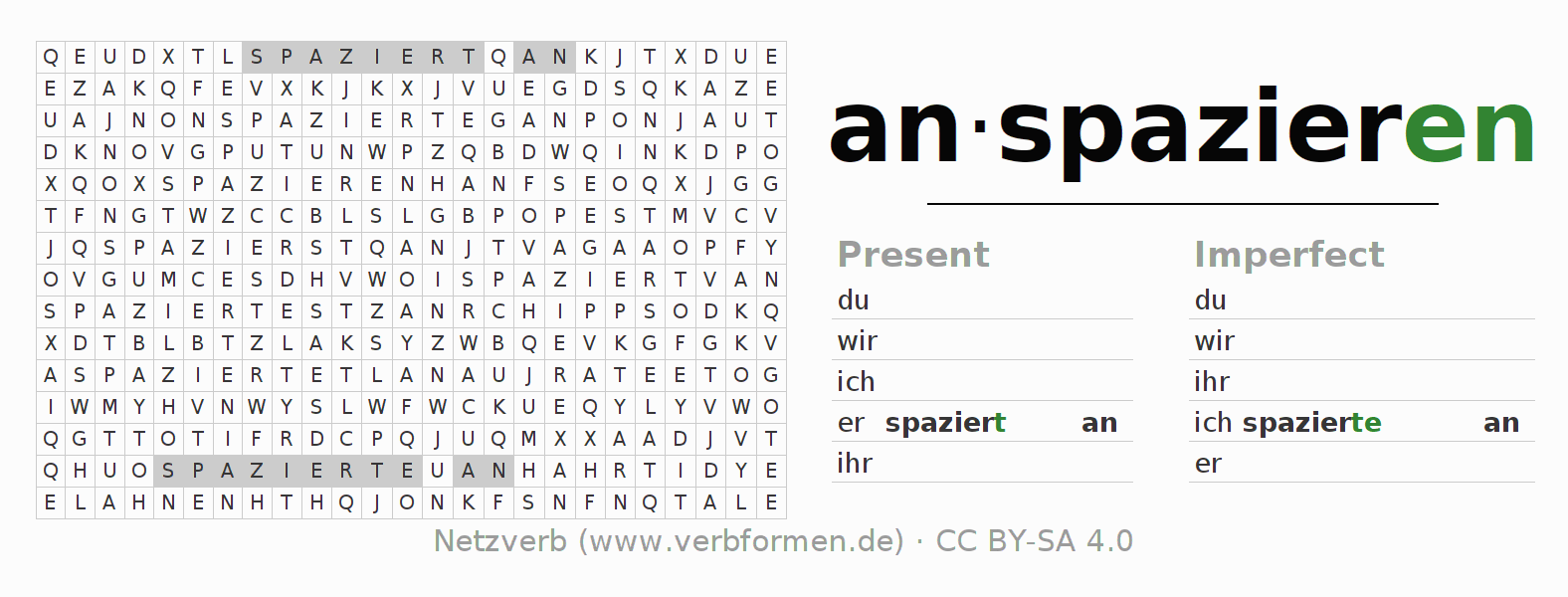 Word search puzzle for the conjugation of the verb anspazieren