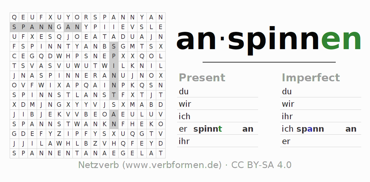 Word search puzzle for the conjugation of the verb anspinnen
