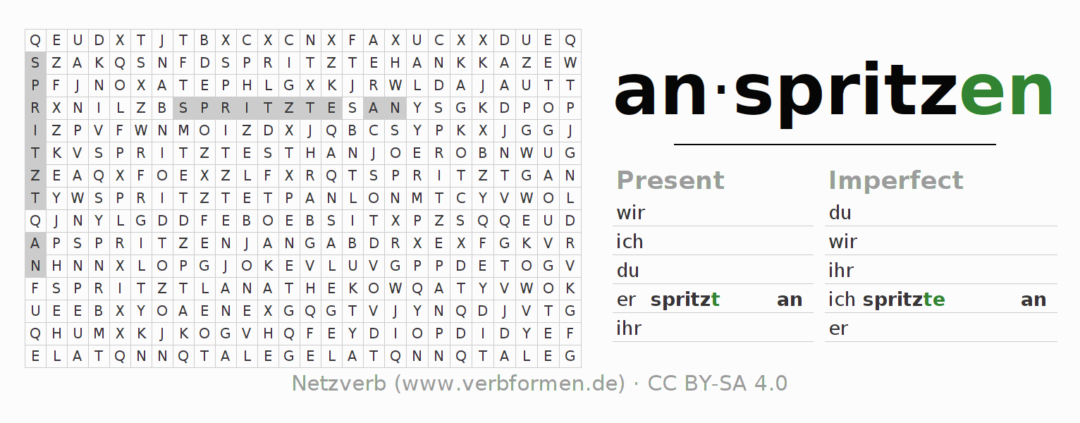 Word search puzzle for the conjugation of the verb anspritzen (ist)