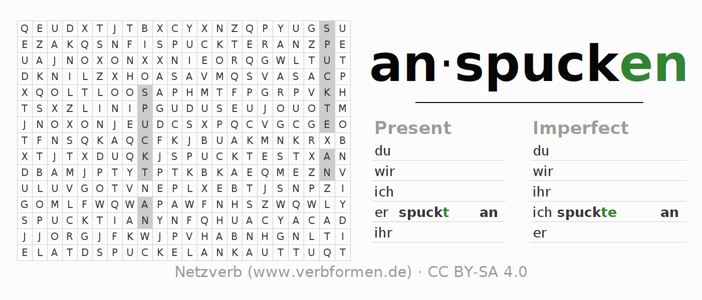Word search puzzle for the conjugation of the verb anspucken