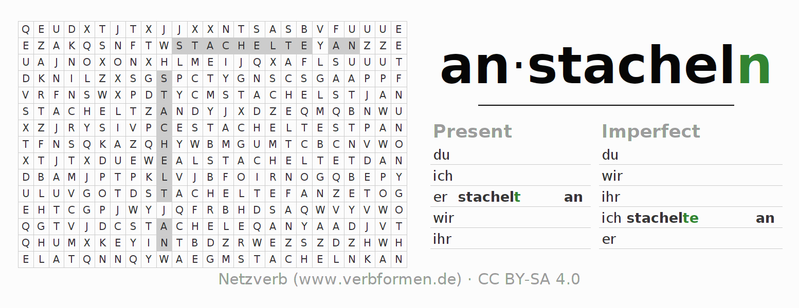 Word search puzzle for the conjugation of the verb anstacheln