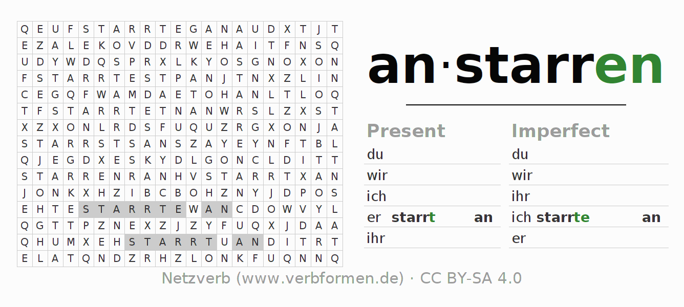 Word search puzzle for the conjugation of the verb anstarren