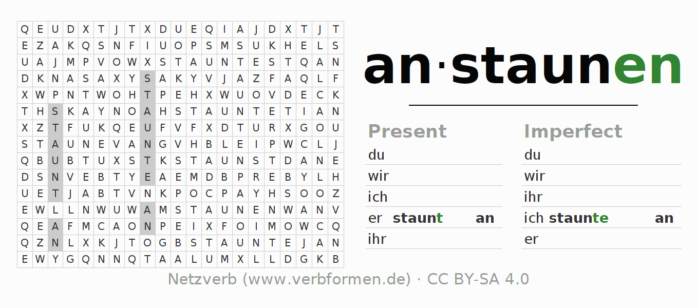 Word search puzzle for the conjugation of the verb anstaunen