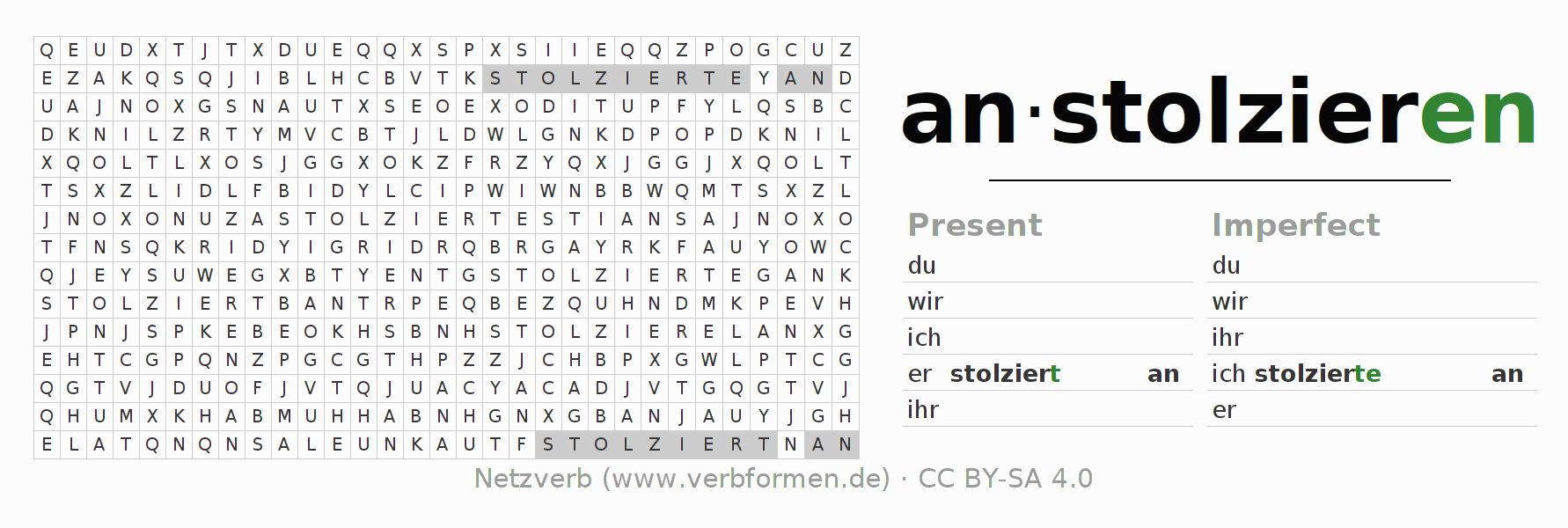 Word search puzzle for the conjugation of the verb anstolzieren