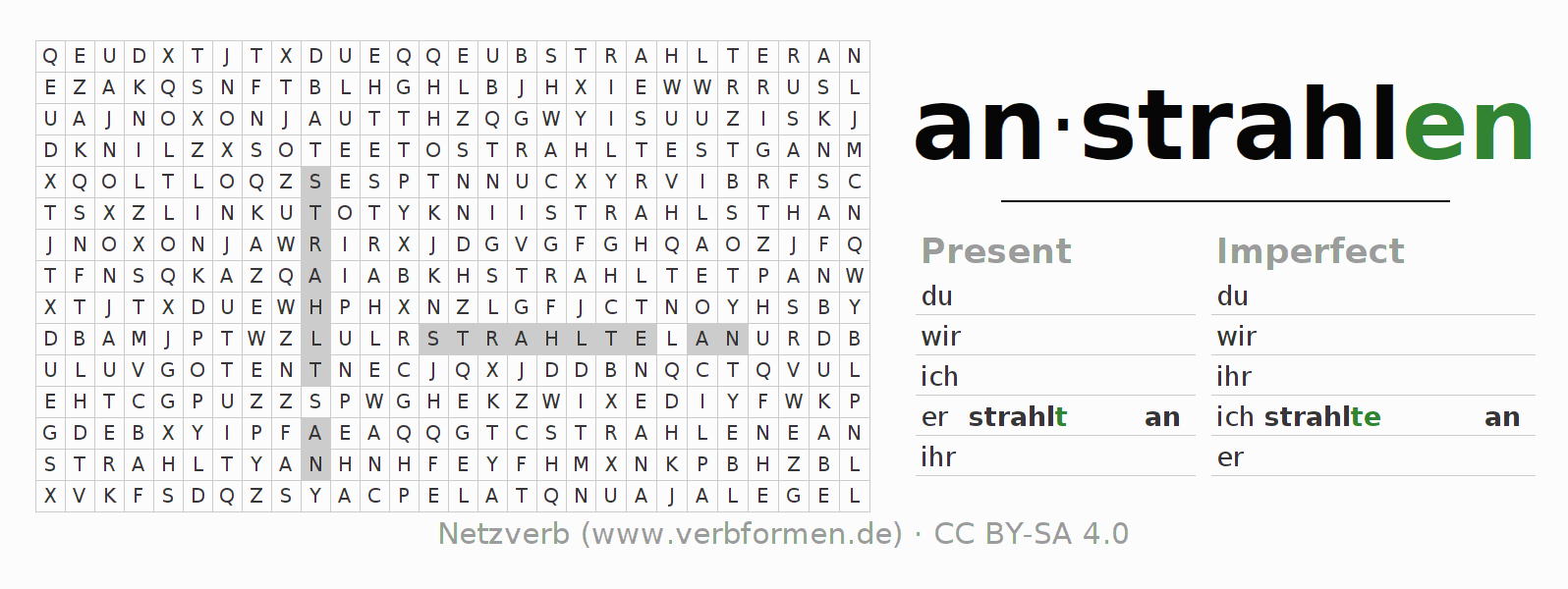 Word search puzzle for the conjugation of the verb anstrahlen