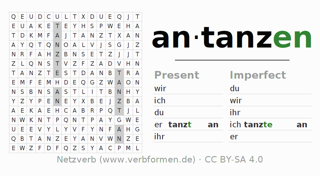 Word search puzzle for the conjugation of the verb antanzen