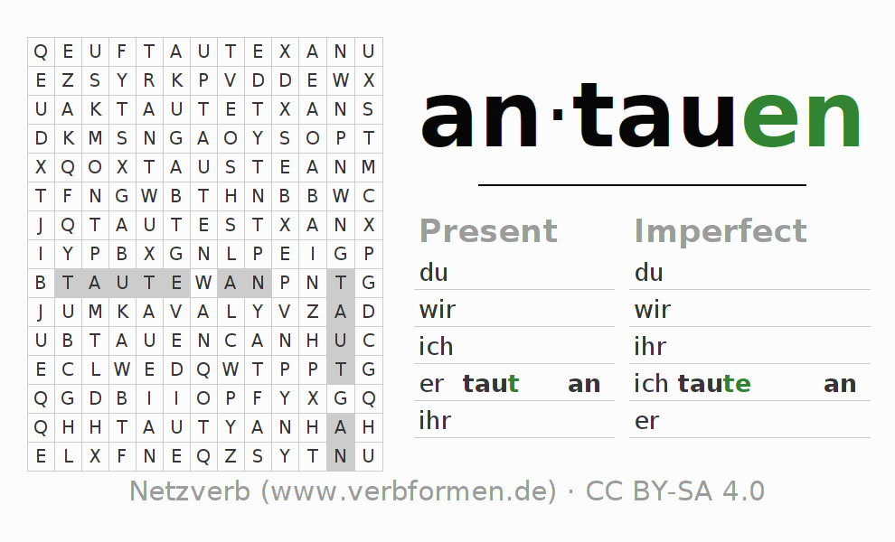 Word search puzzle for the conjugation of the verb antauen (ist)