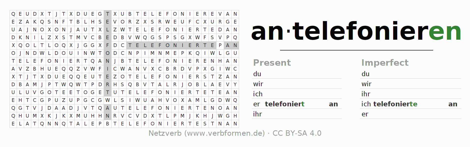 Word search puzzle for the conjugation of the verb antelefonieren