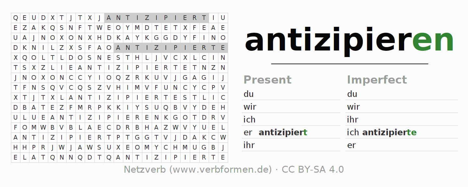 Word search puzzle for the conjugation of the verb antizipieren