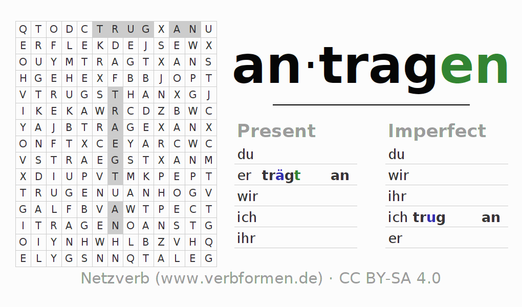 Word search puzzle for the conjugation of the verb antragen