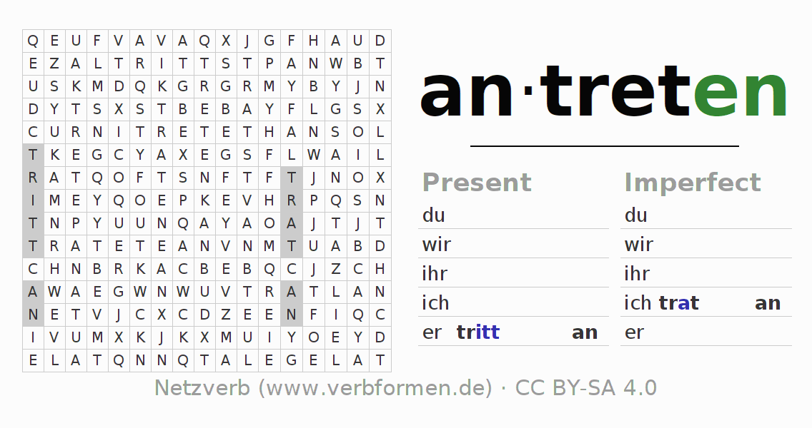 Word search puzzle for the conjugation of the verb antreten (ist)