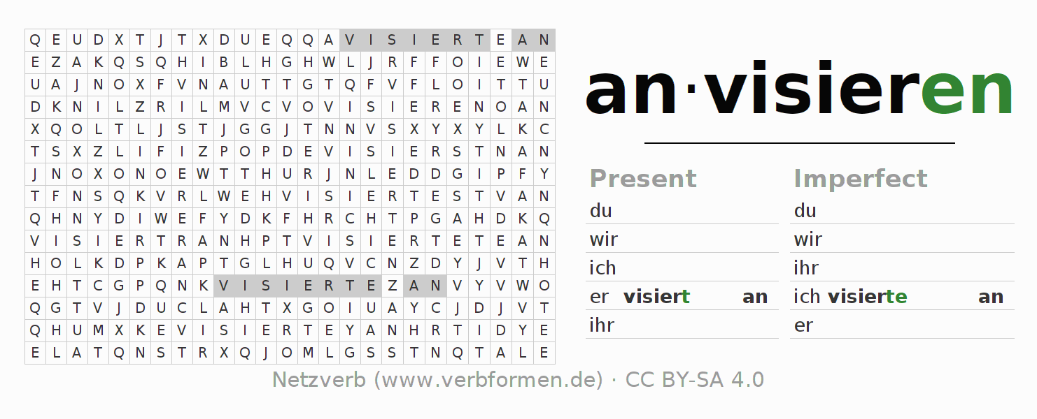 Word search puzzle for the conjugation of the verb anvisieren