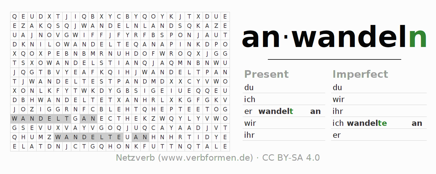 Word search puzzle for the conjugation of the verb anwandeln