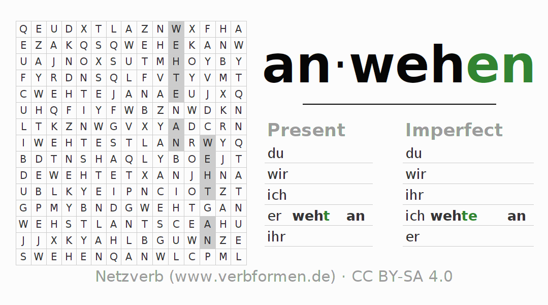 Word search puzzle for the conjugation of the verb anwehen (hat)
