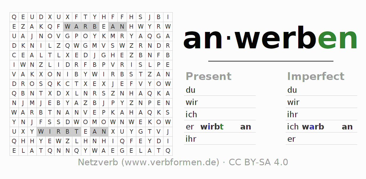 Word search puzzle for the conjugation of the verb anwerben
