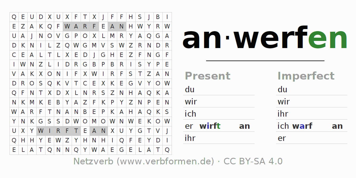 Word search puzzle for the conjugation of the verb anwerfen