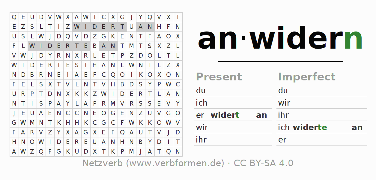 Word search puzzle for the conjugation of the verb anwidern