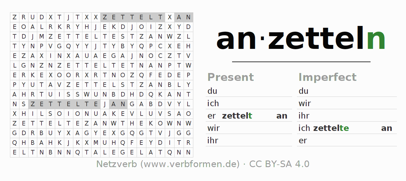 Word search puzzle for the conjugation of the verb anzetteln