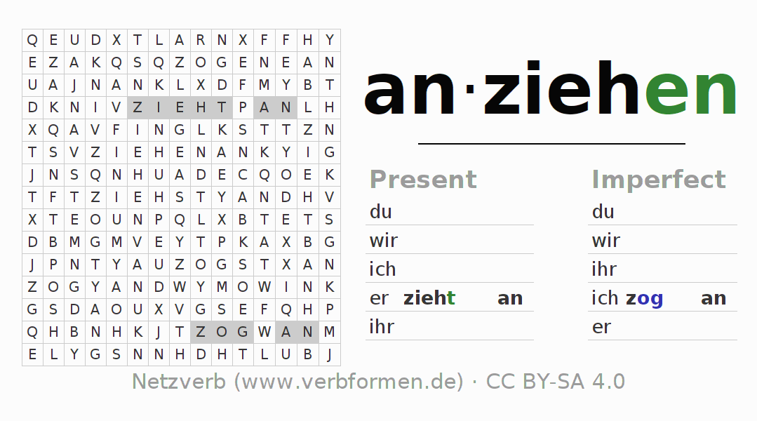 Word search puzzle for the conjugation of the verb anziehen (ist)