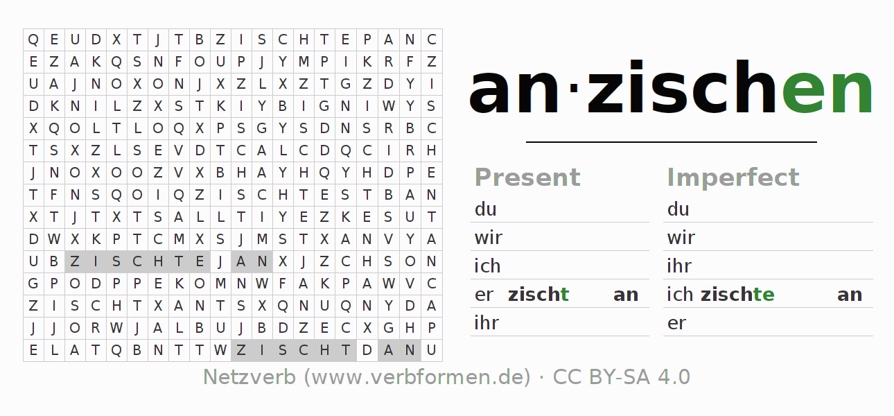 Word search puzzle for the conjugation of the verb anzischen (hat)