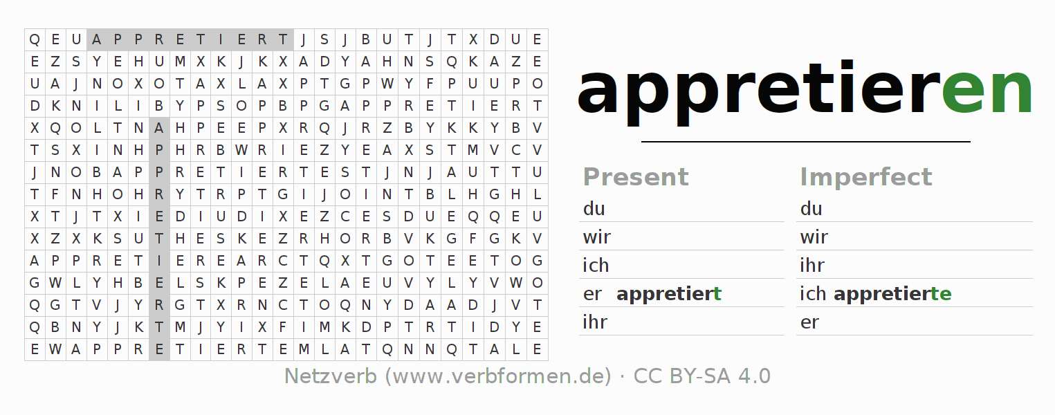 Word search puzzle for the conjugation of the verb appretieren