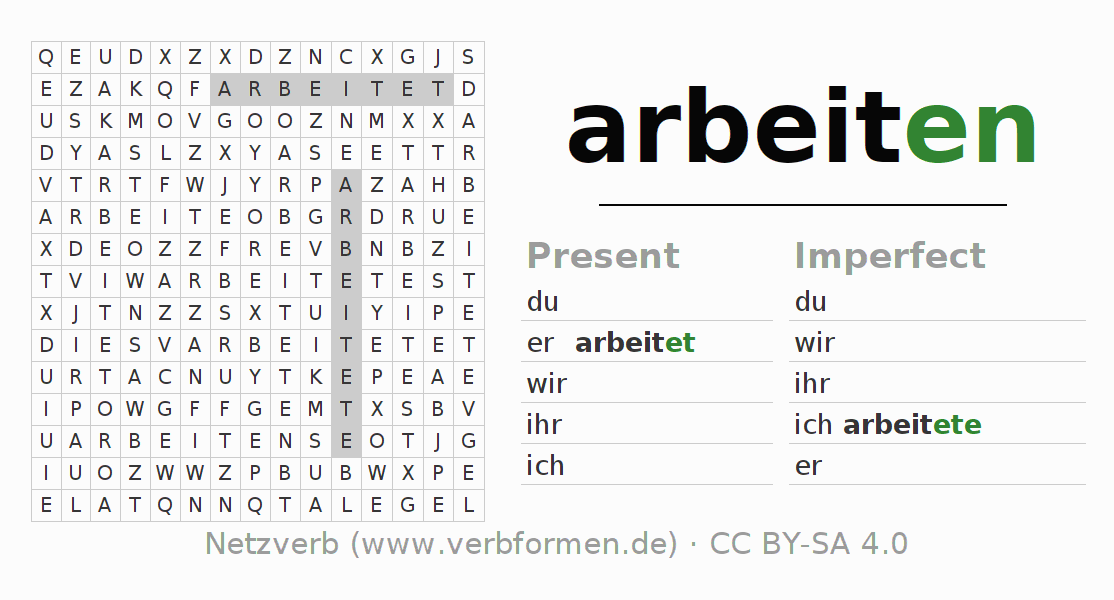 Word search puzzle for the conjugation of the verb arbeiten