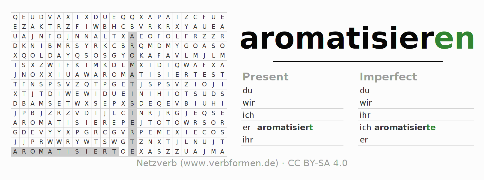 Word search puzzle for the conjugation of the verb aromatisieren