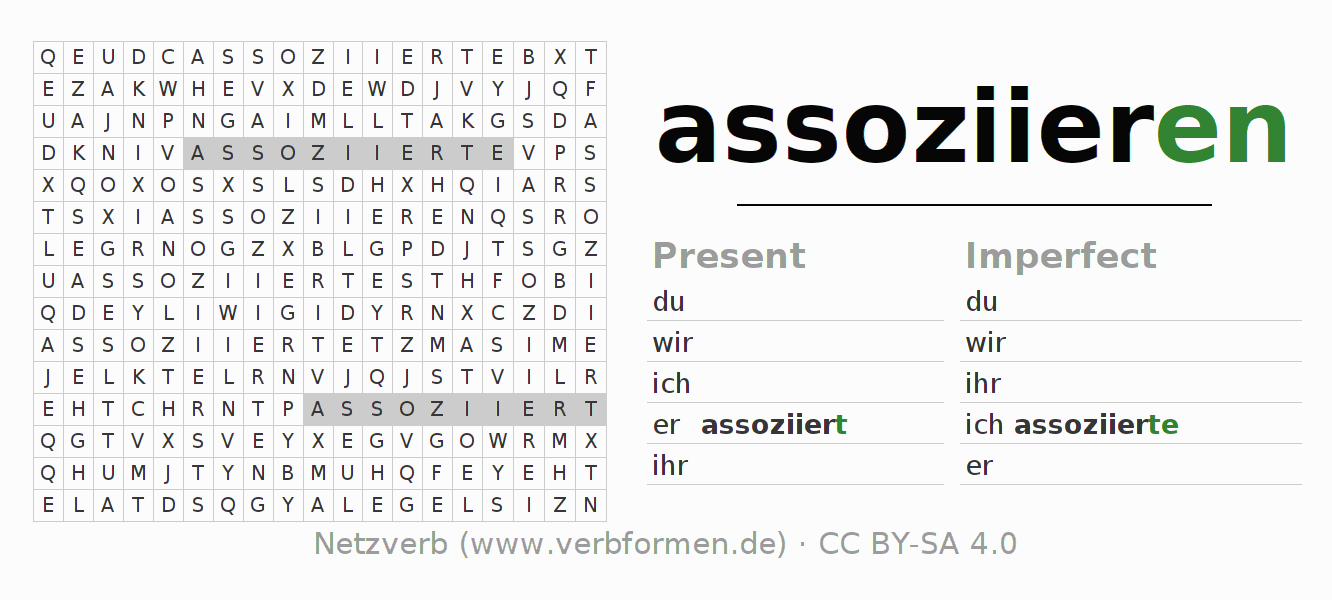 Word search puzzle for the conjugation of the verb assoziieren